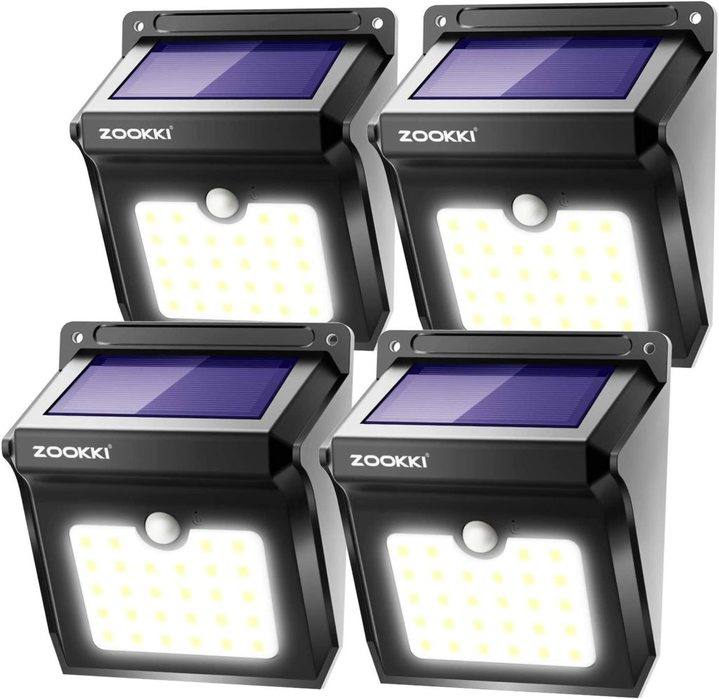 ZOOKKI 28 LED Solar Outdoor Motion Sensor Light